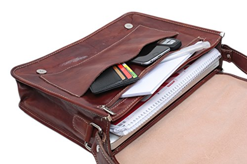 """SLINGBAG """"Mika"""" XL Messenger Bag / Notebooktasche / Aktentasche aus hochwertigem Leder / FARBAUSWAHL (Braun) Braun"""
