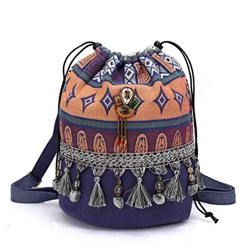 Frauen Böhmischen Stil Rucksack Phantasie Taschen Leinwand Umhängetasche Boho Baumwollgewebe Tasche Blue -