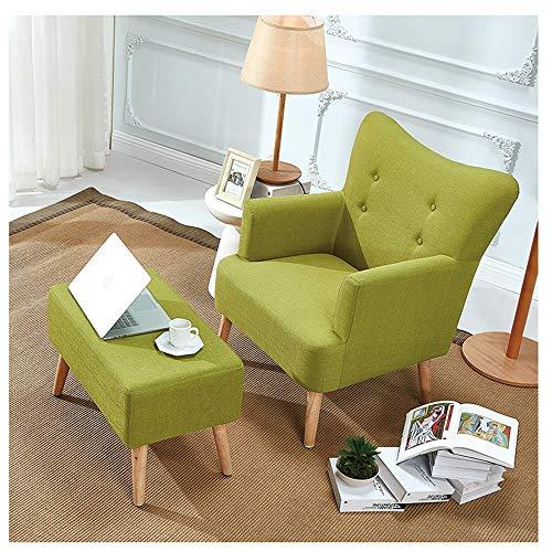 HongTeng Komfortable Lazy Couch Tatami Single Stoff Stuhl Schlafzimmer Wohnzimmer Büro Freizeit Dickes Sofa mit Fußstütze 70 × 41 cm (Color : Green) - Schlafzimmer Stoff Stuhl