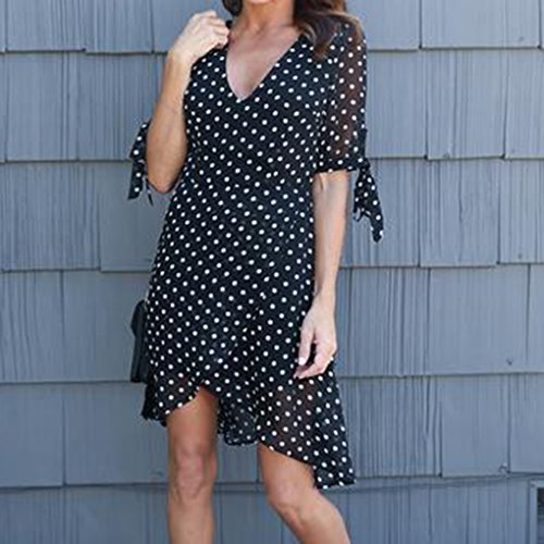 QHGstore Reizvoller V-Ansatz Bogen-Kurzschluss-Hülsen-langer Kleid-Punkt-Druck-Chiffon- Frauen-Sommer-Strand-Kleider Eine Farbe