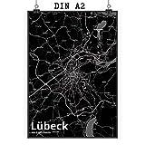 Mr. & Mrs. Panda Poster DIN A2 Stadt Lübeck Stadt Black -