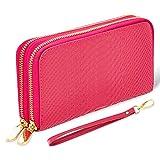 bluzelle Portefeuille en Cuir Véritable pour Dame et Serveur, Rangement pour Méthodes de Paiement & Smartphone - Elégant et Attrayant, Couleur:Pink Rose