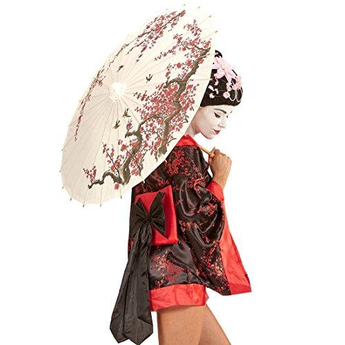 Amakando Chinesischer Papierschirm - 84 cm - Geisha Schirm Orientalischer Dekoschirm Japanischer Regenschirm Asiatische Deko Sonnenschirme Asia Sonnenschirm