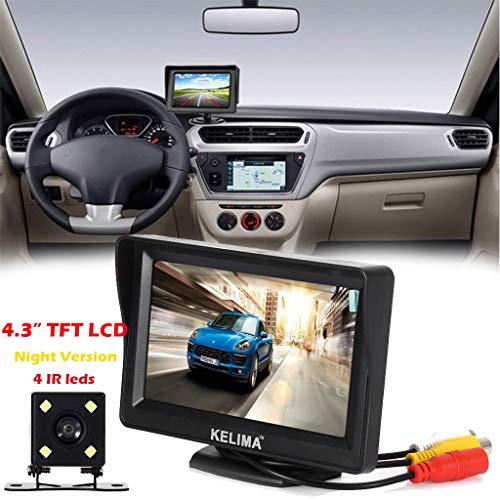 Monitor de sistema de visión trasera del coche 4.3 TFT LCD + cámara de visión nocturna reversa, kit de cámara inversa