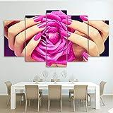 RurengCanvas Poster Poster Soggiorno Decorazioni per la casa 5 Pezzi Salone di Bellezza Pittura Unghie Sexy Woman Lip Manicure Immagini Modulari Wall Art