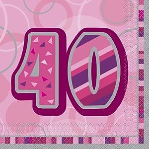Unique Party Paquete de 16 servilletas de papel de 40 cumpleaños Color rosa Edad (28441