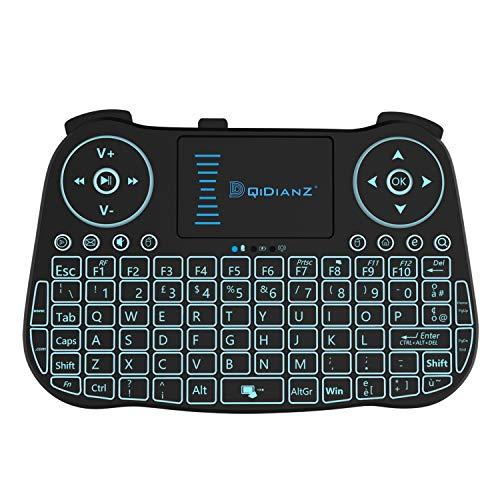 DQiDianZ Mini Tastiera Wireless 2.4G touchpad retroilluminata Tastiera Wireless per Smart TV Android Box PC-Nero-Versione Italiana