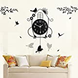Smivun Mode Kreativ Wohnzimmer Wanduhr Garten Schaukel Clock Watch Moderne Silent Quarz Wanduhr