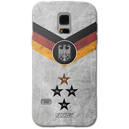 Urcover® Fußball Schutzhülle kompatibel mit Samsung Galaxy S5 I Team Deutschland I Fussball WM 18 Hülle TPU Handyhülle Cover Case Weltmeisterschaft 2018 Backcase Fanartikel Staubschutzkappe