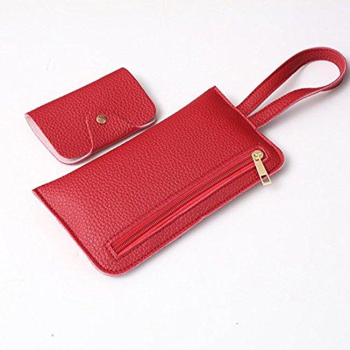 Pu borse in pelle, le donne quattro set borsa pu in pelle borse a tracolla quattro pezzi tote bag crossbody portafoglio by Kangrunmy Rosso