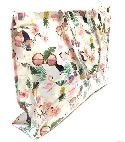 Damen Plastik Strandtasche groß XXL Shopper mit Reißverschluss wasserfest, Ideal für den Strand oder als Einkaufstasche, Strand Sonnenbrillen
