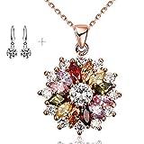 Lv.unique Collar Mujer Collar de Oro Rosa Collar de Oro 18K Collar de Oro Rosa de Diamantes de imitación Collar de Flor de Oro Colorido Collar Exquisito