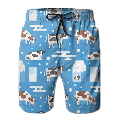 goodsale2019 Cow Milk Glass Blue Herren-Badehose Beach Shorts mit Mesh-Futter Boardshort Blue Milk Glass