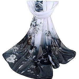 b4f0b8a571f228 Gemini mall Womens Lady Flower Printed Soft Chiffon Scarf Stole Scrawl Wrap