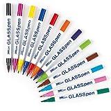 Baker Ross HobbyLine Glasmalstifte mit feiner Spitze (orange, hellgrün, hellblau, rosa, braun, indigo) für Kinder zum Malen - 5 Stück