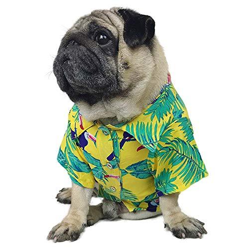 Welpen Mops Kostüm - LAMONDE Hawaiianisches Hunde-Shirt, Sommerkleidung, Hundekleidung, Welpen, Katzen, Camp Luau Outfits Kostüm für Französische Bulldogge, Mops, M: Neck 15.7