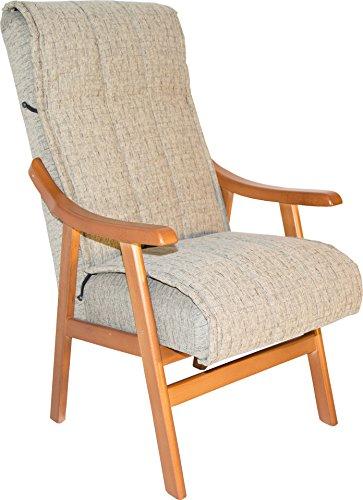 Sillón de madera maciza color cerezo y tapizado agua arena claro para salón comedor o dormitorio. 110x69x59cm. Envío montado.