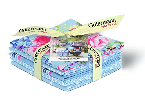 "Gutermann ""Portofino"" Fat Quarter Bundle Craft Supply, in puro cotone, confezione da 5"