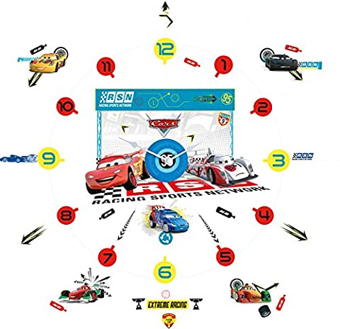 Disney Cars Tell the Time with Me Wall Clock Wall Sticker, Red