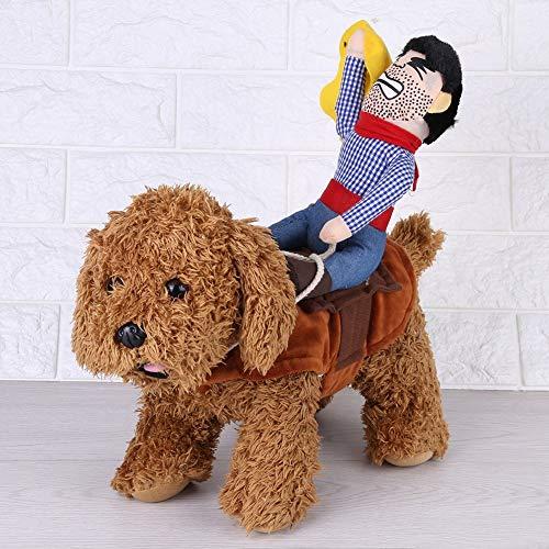 Fdit Haustier Hund Kostüm lustige Cowboy Reiter Kleidung Hunde Outfit Ritter Stil Kleidung mit Puppe und Hut für Halloween Cosplay (Hunde Mit Kostüm Auf)