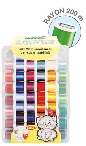 Madeira Box 8082 Rayon Machine Embroidery Thread 82 bobine, aghi, (Ricamo Cd)