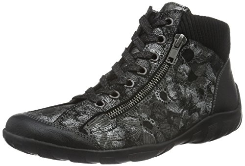 Remonte R3456, Sneakers Hautes Femme Noir (Schwarz/Schwarz-Metallic/Schwarz / 02)