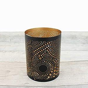 Teelichthalter zylindrisch 12,5 cm | Loop schwarz/golden | Windlicht Dekoschale aus Metall | Strahlender Teelichthalter | Weihnachtsdeko
