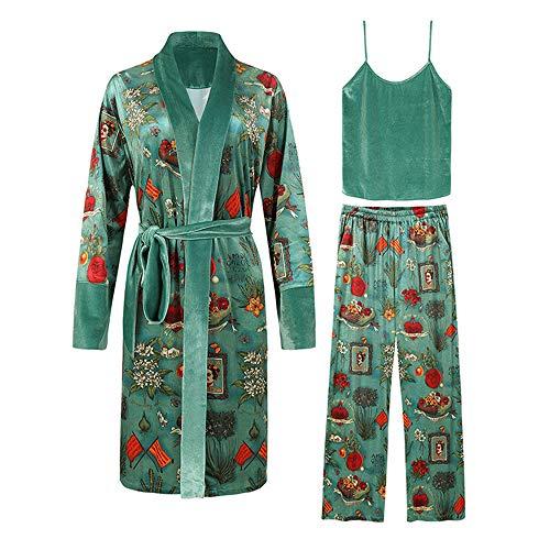 T.M.R.W. Clothing Pyjama-Set, Gold-Samt-Pyjamas Frauen drucken Bequeme Heim-Pyjamas 3-teiliges Set, Bademantel Nachthemd Herbst und Winter