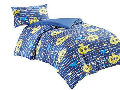 SCM Kinder Bettwäsche 135x200cm Blau Gestreift 100% Baumwolle Renforcé 2-teilig Deckenbezug Kopfkissenbezug 50x75cm U-Boot Fisch Tiere Junge Jugendliche Teenager Kinderbett Hawkins
