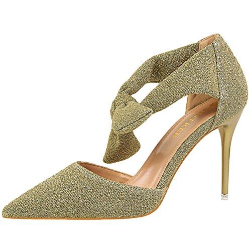 Oasap Women's Pointed Toe Stiletto Heels Bow Glitter Sandals Golden