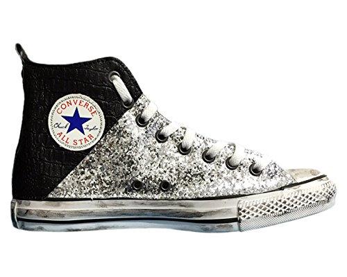 Converse All Star con applicazione di tessuto glitter nero ed effetto coccodrillo nero Argento