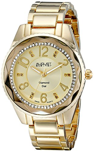 August Steiner Women's Glamour Diamond Watch with Gold-Tone Dial and Gold-Tone Alloy Bracelet AS8122YG
