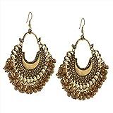 #8: Zephyrr Fashion Oxidized Ethnic Silver Beaded Chandbali Earrings Women