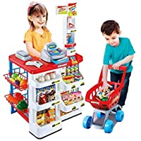 STAR WORK Kids Role Pretend Playset Big Size Supermarket kit for Kids Toys with Shopping Cart and Sound Effects Kitchen Set Kids Toys for Boys and Girls for Birthday Gift
