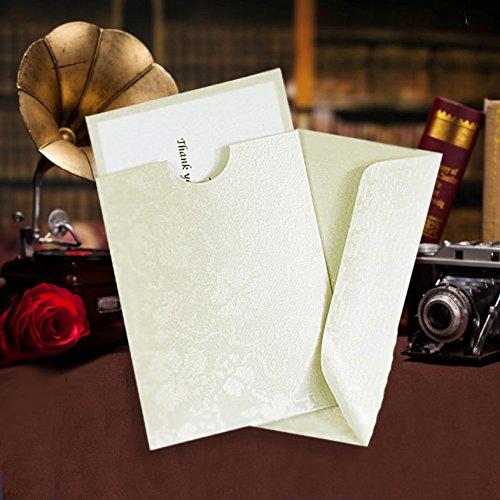 Mini portafoglio tasca avorio pizzo floreale goffrato perfettamente nel nostro biglietti d' invito,  cartoncini e inserti e buste x 10 - Invito Stampato Carta