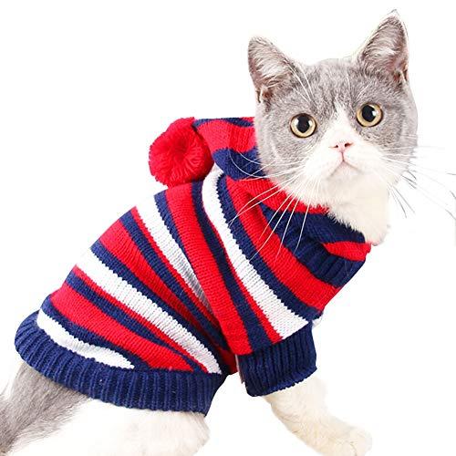 tze Streifen Sweatshirt Jung Hund, Kätzchen Winter Kleider, Mit Kapuze Sweatshirt, 2 Bein Pet Bekleidung (Farbe : Red, größe : L) ()