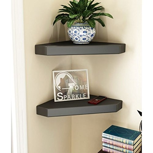 Onlineshoppee Wooden Decorative Wall Shelves for Living room empty wall corners - Set of 2 - Black