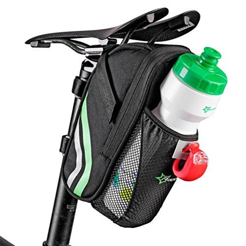 RockBros Fahrrad Satteltasche Fahrradtasche Mit Flaschenhalter Schwarz