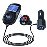Bluetooth FM Transmitter, Car MP3 Player Radio Adapter Hands-free with 1.4 Inch LCD, Dual USB Quick Car Charger with 5V/3.4A for iPhone, iPad, iPod, Samsung, Android