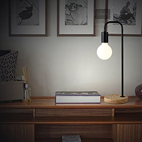 LanLan Iron Design Wood Base Stand Simple Decoration Home Desk Night Lamp Creative Bedside Dormitory Reading Table Lamp