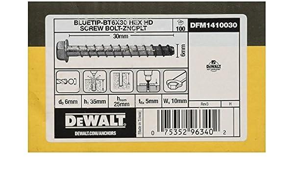6 pans 6 x 60 mm DeWALT bT vis /à b/éton dFM1410070 lot de 100