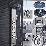 Hochwertiges LED Duschpaneel aus rostfreiem Edelstahl mit Temperaturanzeige und 2 Massagefunktionen Farbe: Nickel gebürstet