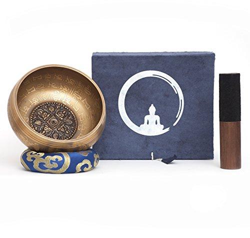 Cuenco Tibetano Hecho a Mano en Nepal, 600g, 14cm, 5 Metales, Badajo de Palisandro con cuero, Caja de papel Lokta Artesanal – Gravados en Nepālī, Para Meditaciones Budistas, Símbolos Mudra