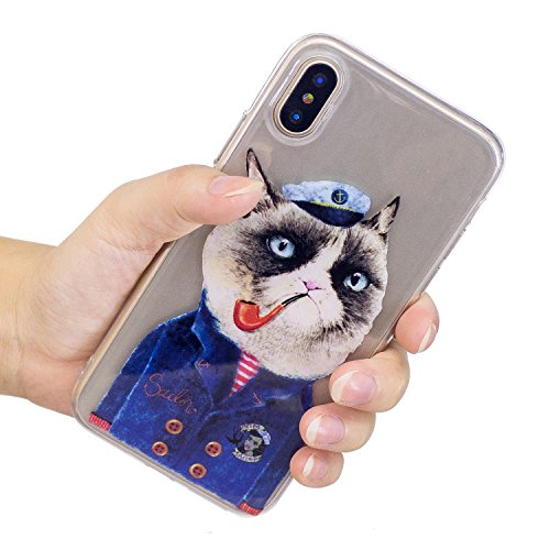 Cover iPhone X, Voguecase Custodia Silicone Morbido Flessibile TPU Transparent Custodia Case Cover Protettivo Skin Caso Per Apple iPhone X(fiore Skull 12) Con Stilo Penna Tubo Gatto 01