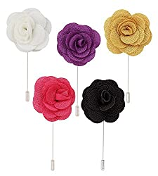 Sorellaz Combo of Purple, Yellow, Pink, Orange & White Rose Style Fabric Lapels
