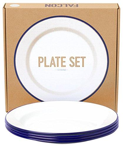 Falcon Enamelware Teller-Set 4-teilig :: Blue-White :: Plate Set emaille Blue Plate