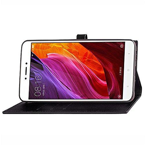EKINHUI Case Cover Slim Premium PU Leder Brieftasche Case Horizontale Flip Stand Schutzhülle mit Card Slots und Niet Gürtelschnalle Closure für Xiaomi Hongmi Note 4X ( Color : Rose ) Black