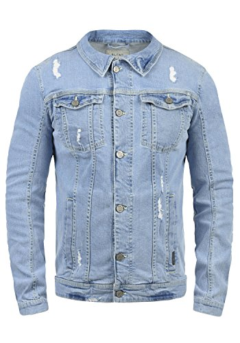 Blend Saitz Herren Jeansjacke Denim Übergangsjacke Mit Stehkragen Washed-Out Regular Fit, Größe:XL, Farbe:Denim Lightblue (76200)