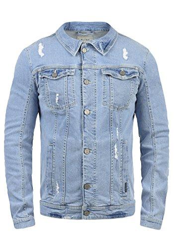 Blend Saitz Herren Jeansjacke Denim Übergangsjacke mit Stehkragen aus hochwertiger Baumwollmischung Washed-Out Stretch, Größe:L, Farbe:Denim Lightblue (76200)