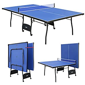 Blue Folding Full Size Table Tennis Table Professional Tournament Ping Pong Set with Net Review 2018 from HLC Metal Parts Ltd.